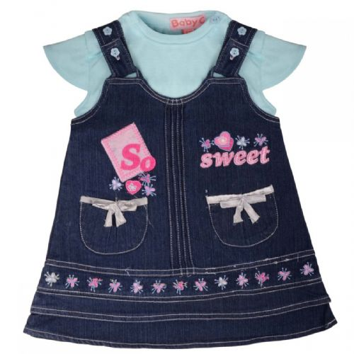 2 PIECE SO SWEET EMBROIDERED DUNGAREE SET